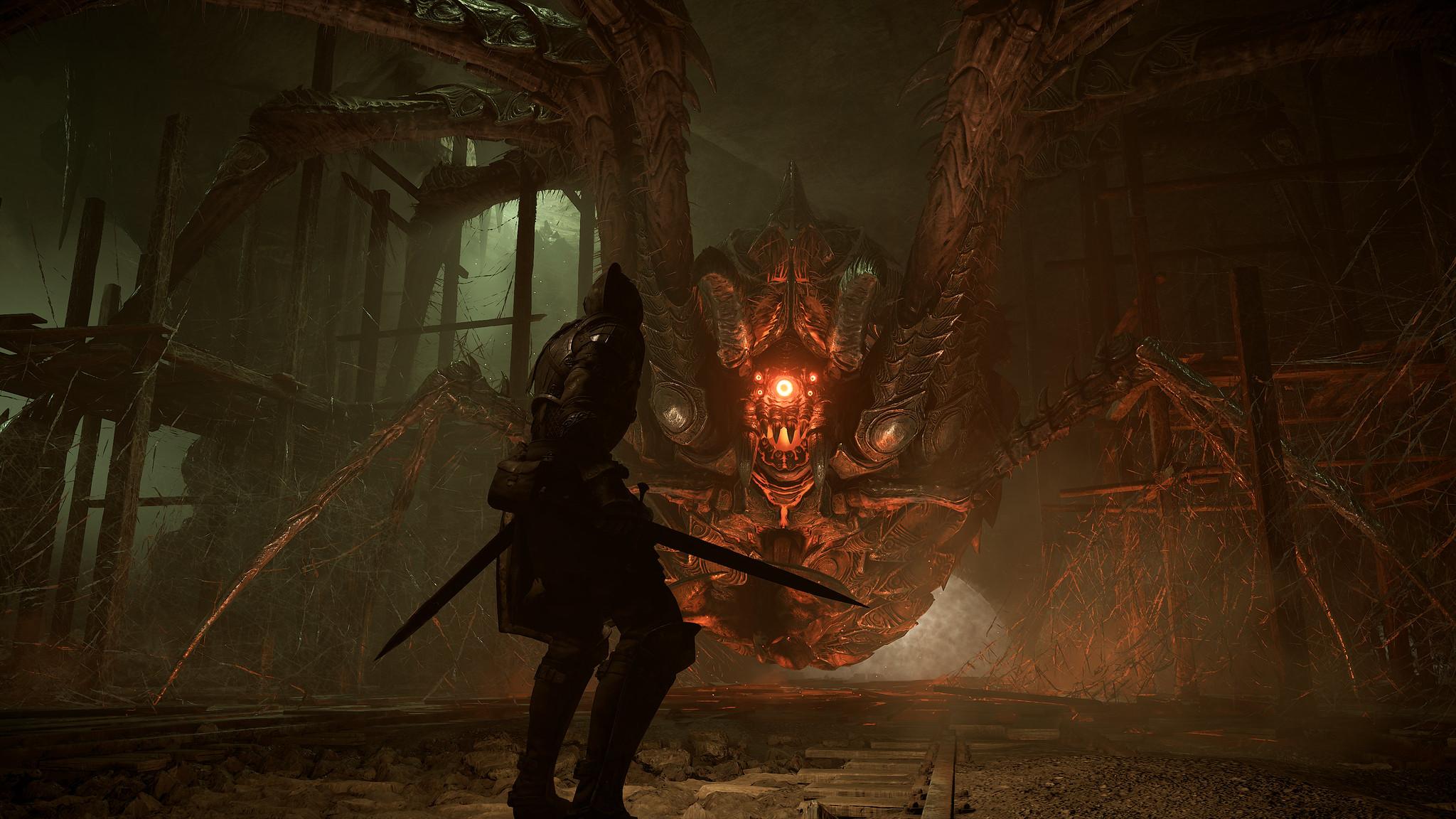 A big spider friend in a Demon's Souls screenshot.