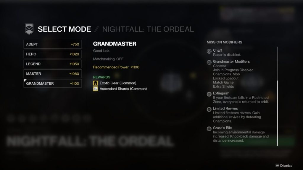 Difficulty modifiers in Nightfall: The Ordeal on Lake Of Shadows.