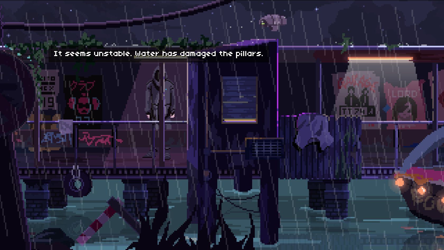 The player character in VirtuaVerse stands on a rainy, dilapidated dock at night. There are old posters and bits of graffiti on the wood. The character observes that Water has damaged the pillars and it seems unstable.