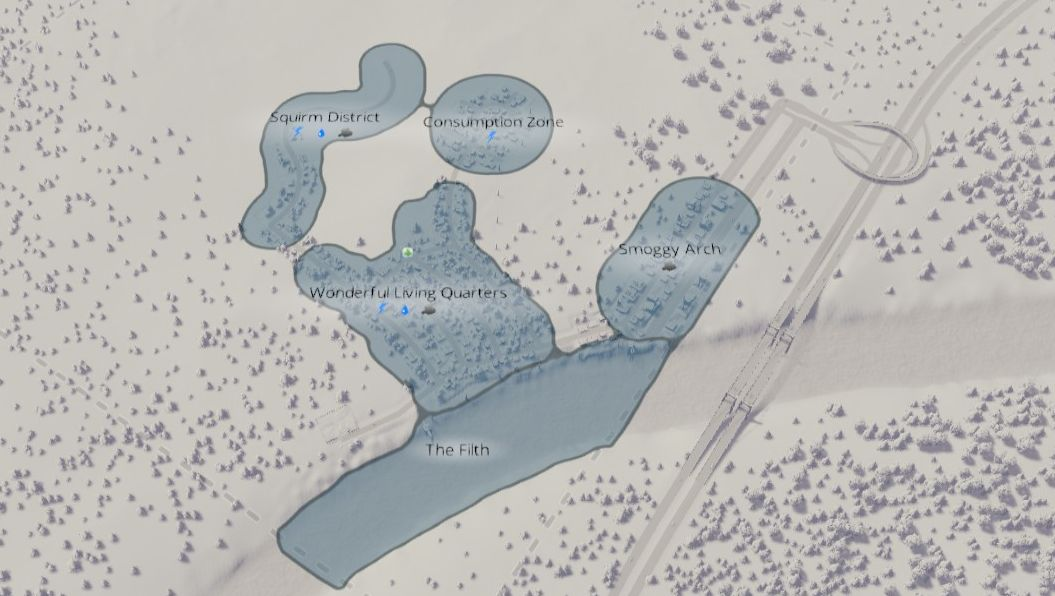 a screenshot of the map from Cities: Skylines showing several different zoned areas: The Filth, Smoggy Arch, Consumption Zone and Squirm District. These surround the Wonderful Living Quarters.