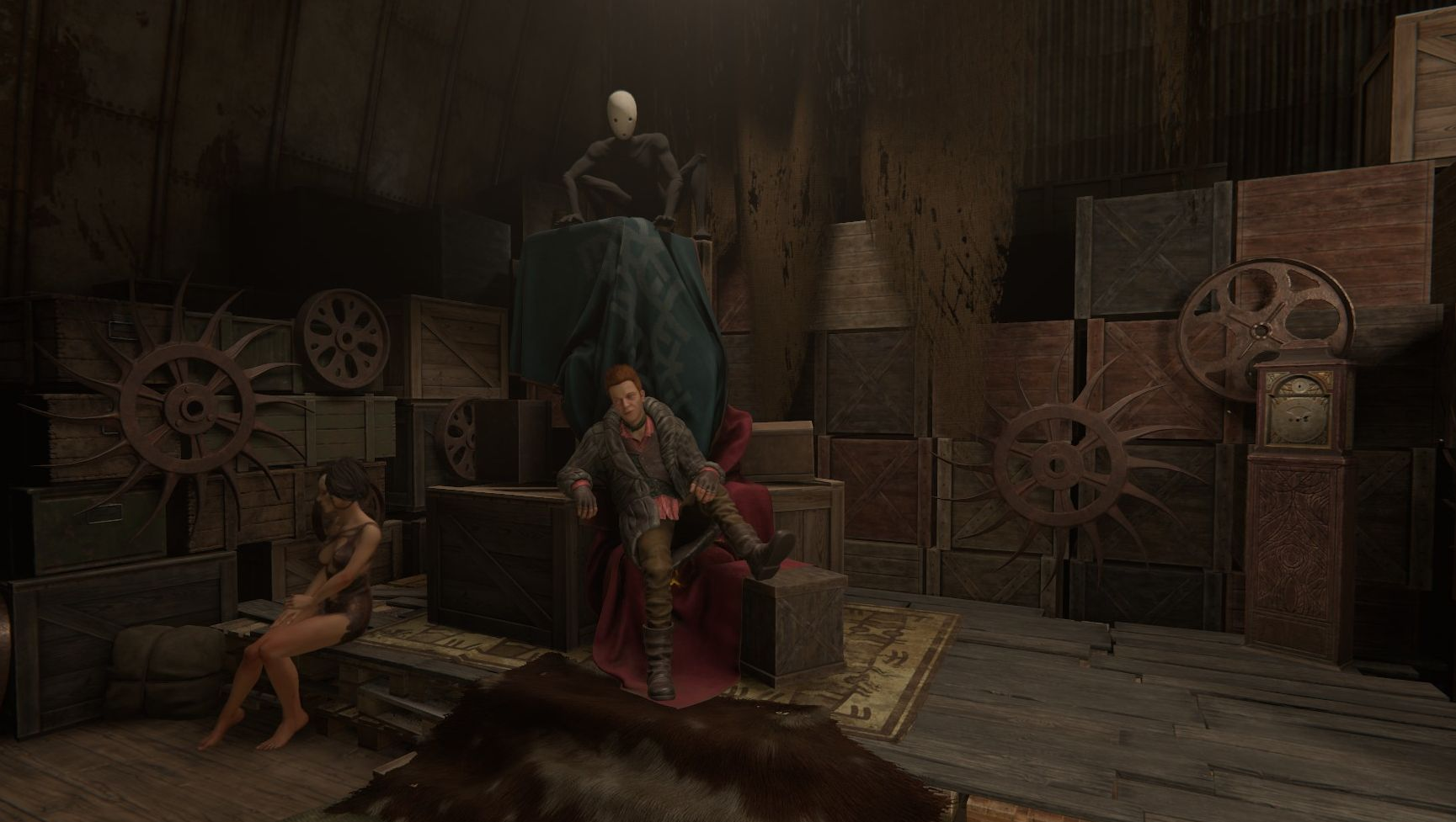 The inside of a warehouse in Pathologic 2, with stacked wooden crates. Three people (two relatively normal looking and one a terrifying spectre in a white mask of some kind) are sitting on some of these crates.