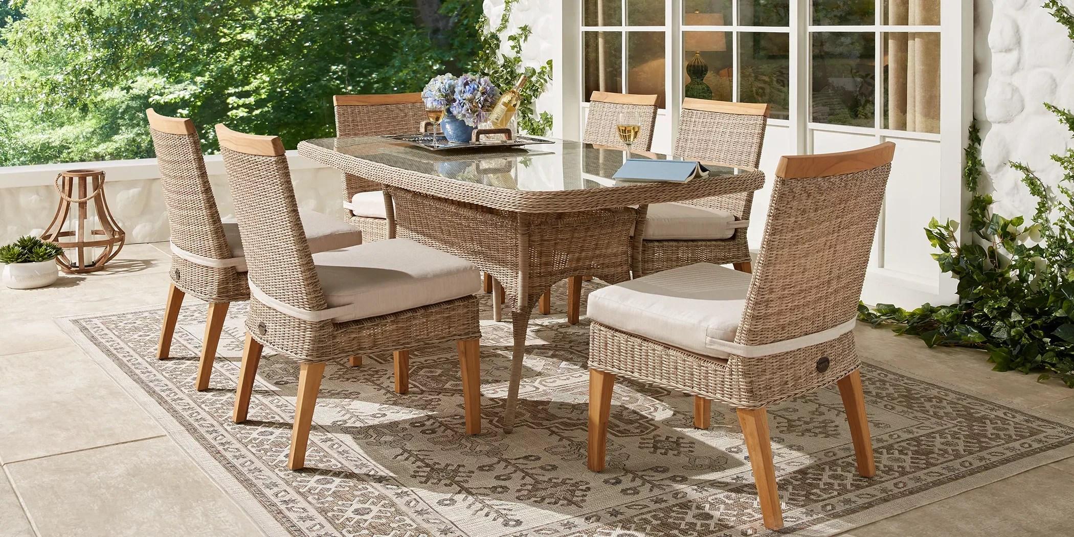 wicker 7 piece patio dining sets