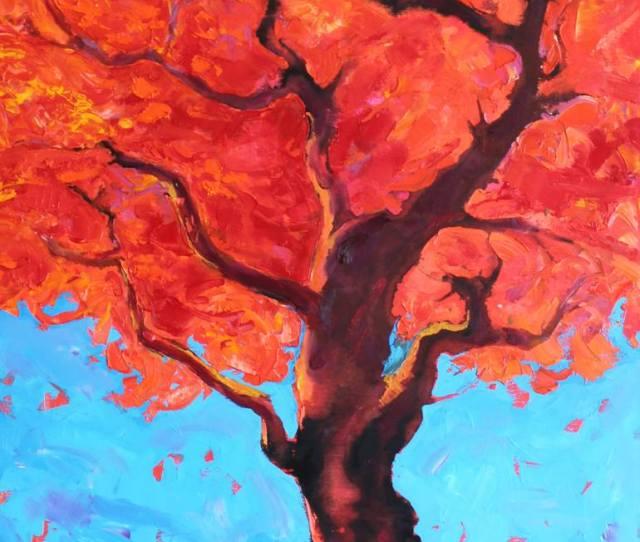 Red Tree Abstract Nature Painting Original Artwork X Cm Painting By Svetlozar Zahariev Zar Saatchi Art