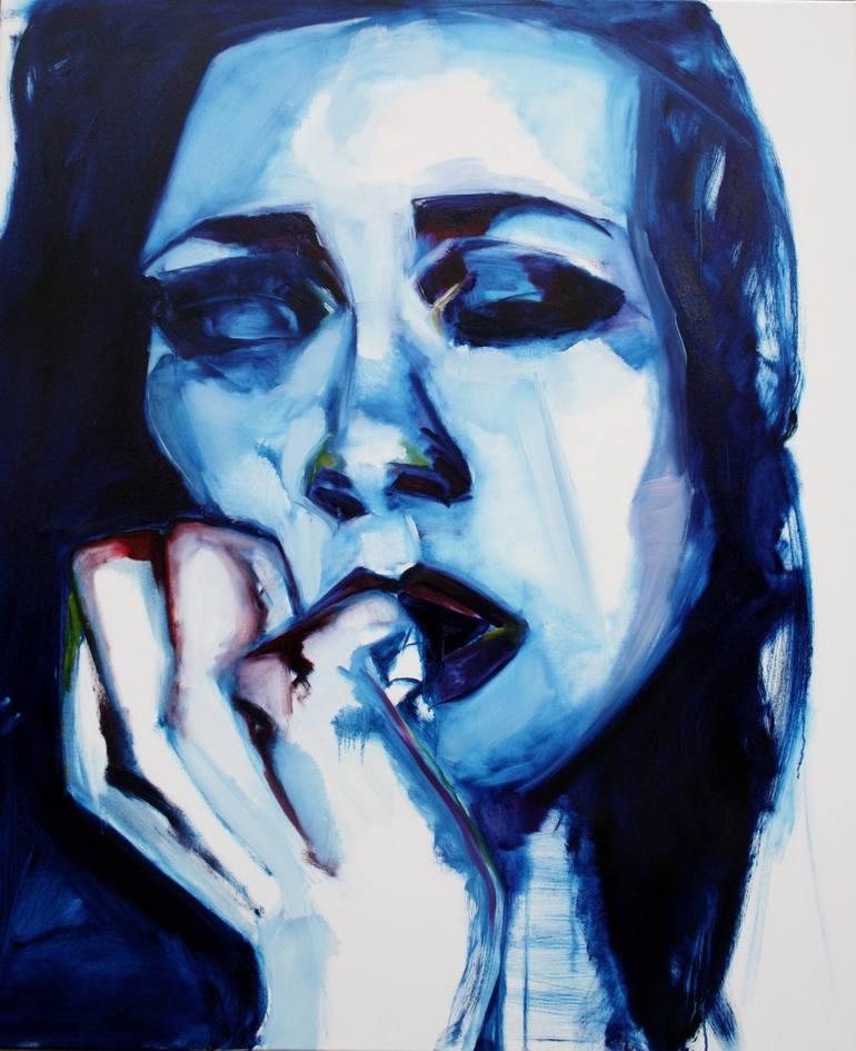 Risultati immagini per Otherwise blue Painting, 47.2 H x 39.4 W x 0.8 in Patricia Derks