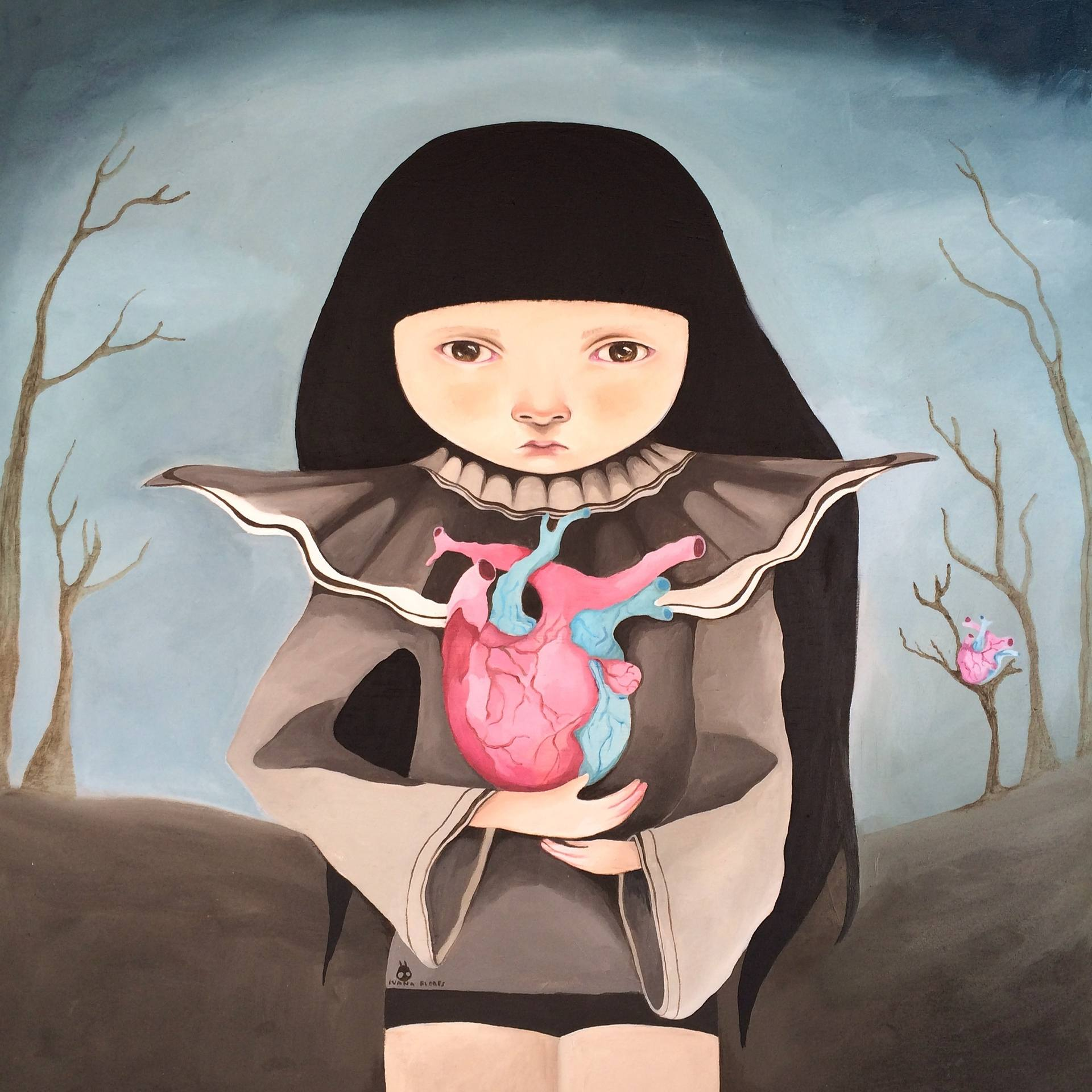 Risultati immagini per girl with heart Painting, 19.7 H x 19.7 W x 1.6 in ivana flores