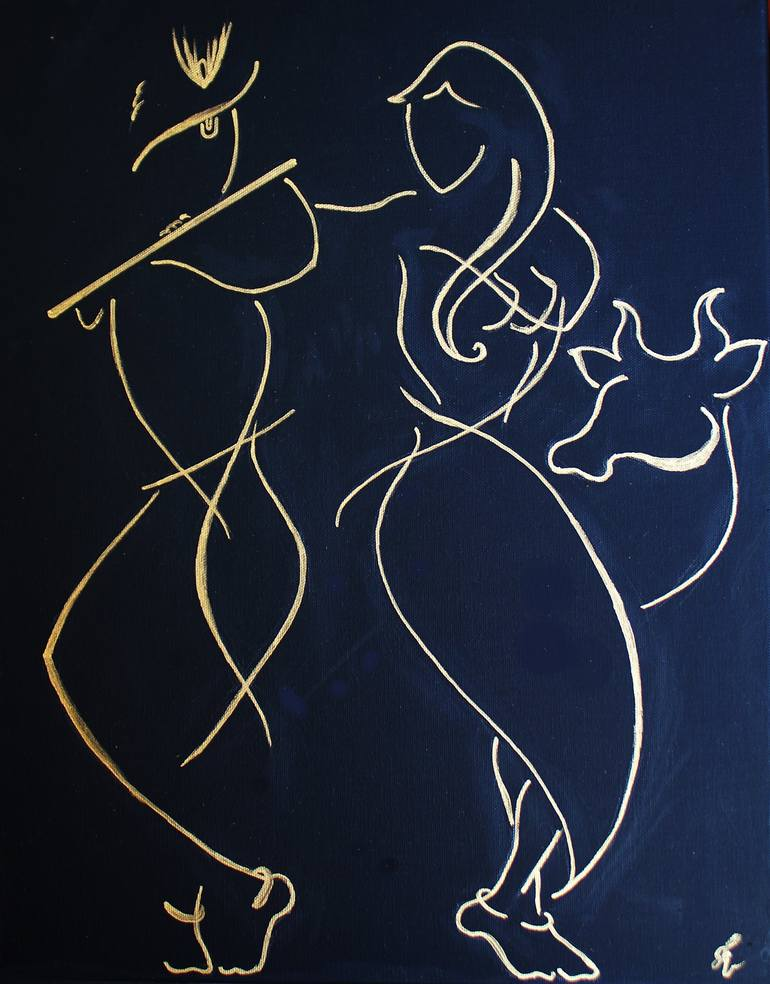 Saatchi Art Radha Krishna Painting By Icreative Kid