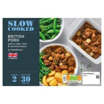 Sainsbury's Slow Cook British Pork Casserole with Cider, Leek & Mushroom Sauce 540g (Serves 2)