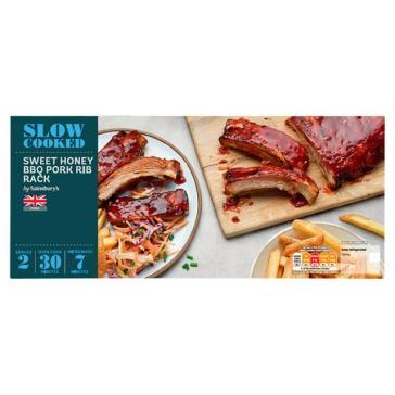Sainsbury's Slow Cook British Pork Ribs With a Sweet Honey Glaze 676g (Serves 2)