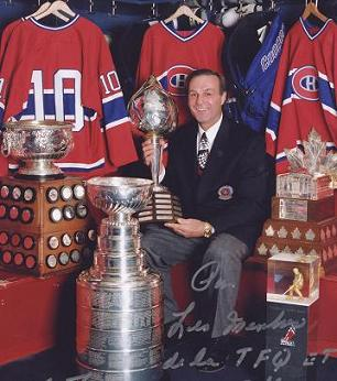 Guy Lafleur with some of the trophies he won.