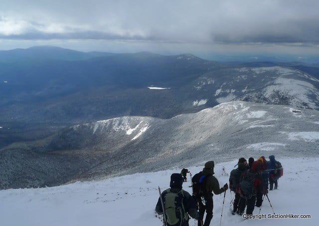 Descending Mt Lafayette and Franconia Ridge in Winter