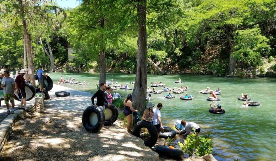 Tubing the river in New Braunfels, Texas