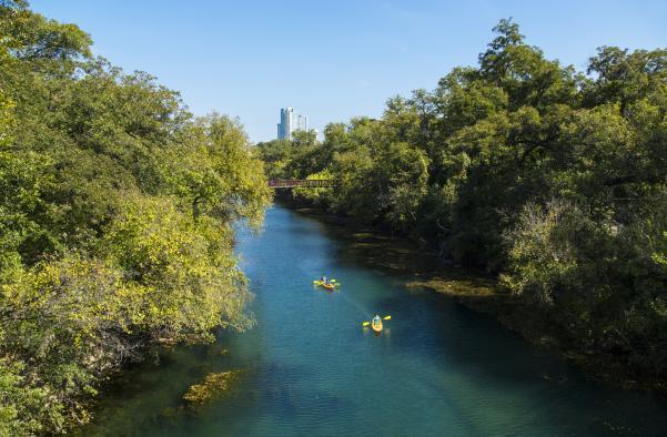 Kayaking through the Barton Creek Greenbelt in austin texas