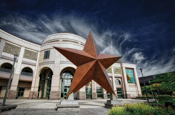 Star in front of Bullock Texas State History Museum in austin texas