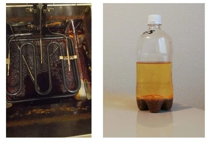 真っ黒な油槽底部と沈殿後の油