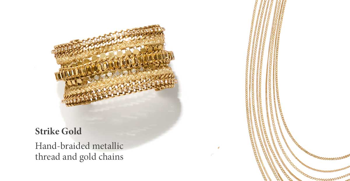 Hand braided metallic thread and gold chains