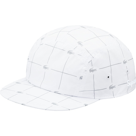 Supreme®/LACOSTE Reflective Grid Nylon Camp Cap (White)