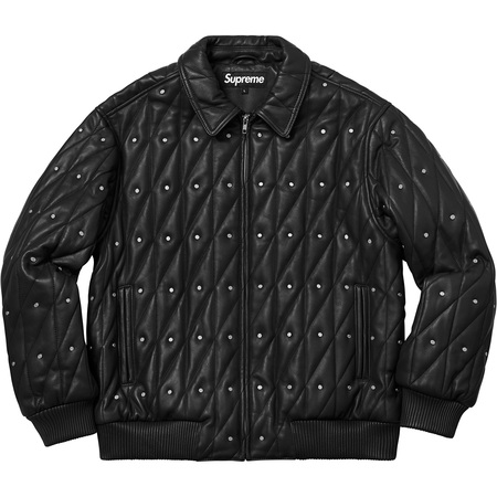 Quilted Studded Leather Jacket (Black)