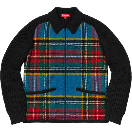 Plaid Front Zip Sweater (Black)