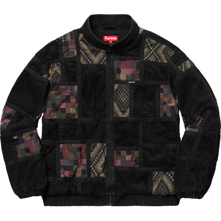 Corduroy Patchwork Denim Jacket (Washed Black)