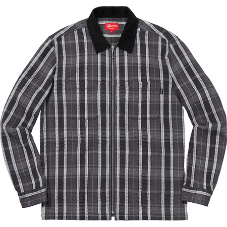 Plaid Thermal Zip Up Shirt (Black)