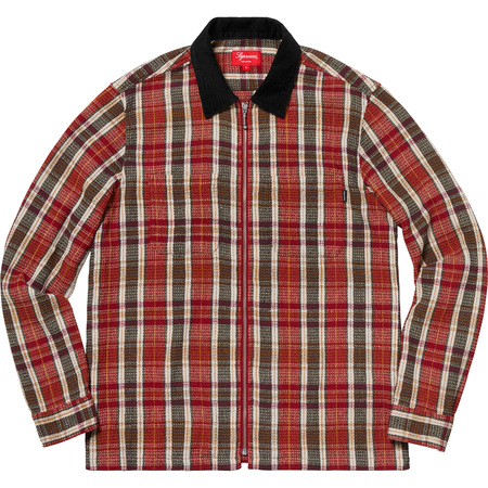 Plaid Thermal Zip Up Shirt (Dusty Red)