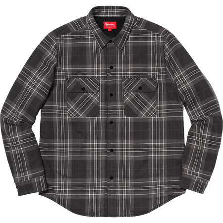 Pile Lined Plaid Flannel Shirt (Black)