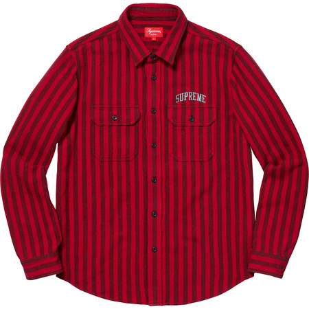 Stripe Heavyweight Flannel Shirt (Red)
