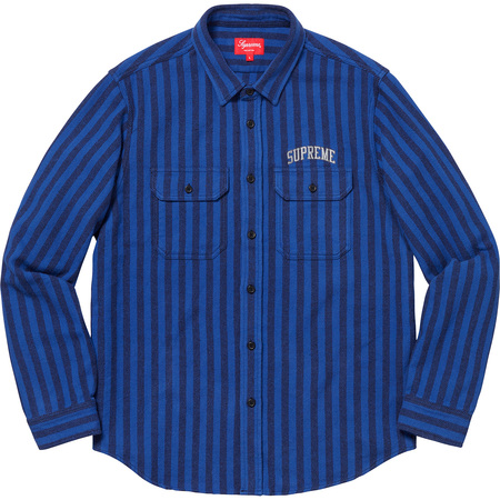 Stripe Heavyweight Flannel Shirt (Royal)