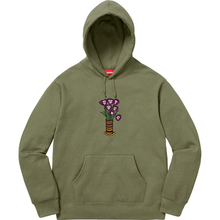 Flowers Hooded Sweatshirt (Light Olive)