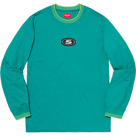 Striped Rib Logo L/S Top (Teal)