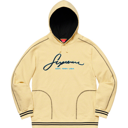 Contrast Embroidered Hooded Sweatshirt (Pale Yellow)