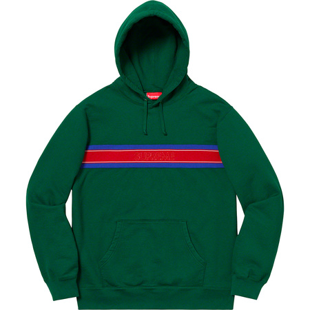 Chest Stripe Logo Hooded Sweatshirt (Dark Green)