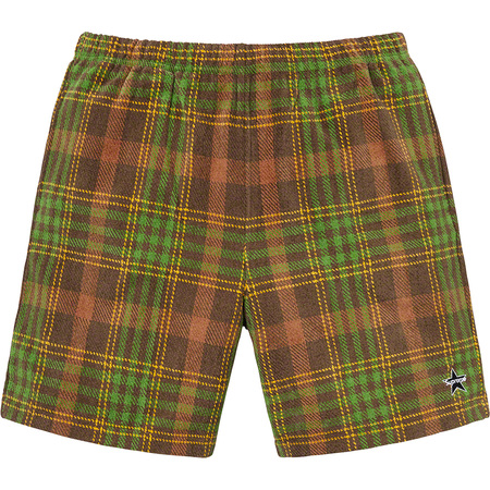 Plaid Velour Short (Brown)
