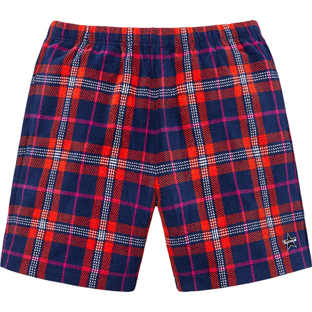 Plaid Velour Short (Navy)