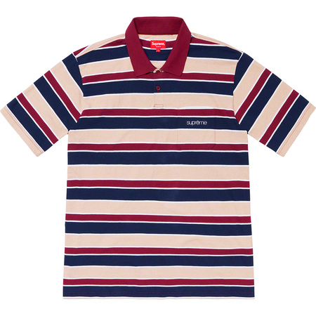 Classic Logo Stripe Polo (Dark Red)