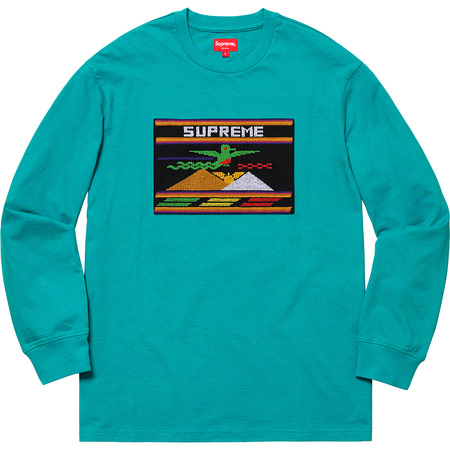 Needlepoint Patch L/S Top (Dusty Teal)