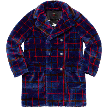 Supreme®/Jean Paul Gaultier® Double Breasted Plaid Faux Fur Coat (Blue)