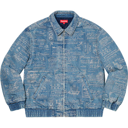 Checks Embroidered Denim Jacket (Blue)