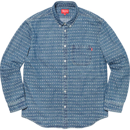 Jacquard Logos Denim Shirt (Blue)