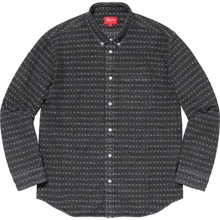 Jacquard Logos Denim Shirt (Black)