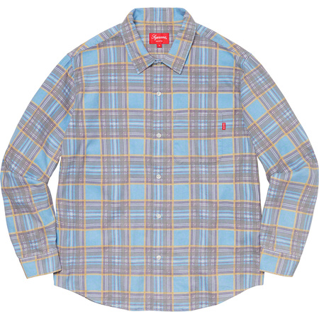 Printed Plaid Shirt (Light Blue)