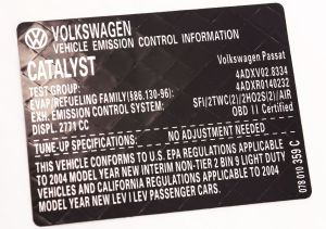 New Vehicle Emission Information Sticker 2004 VW Passat 28 V6  078 010 359 C   CarParts4Sale, Inc