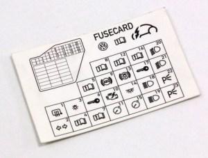 Dash Fuse Box Diagram Card VW Beetle 9810  1C0 010 232 K