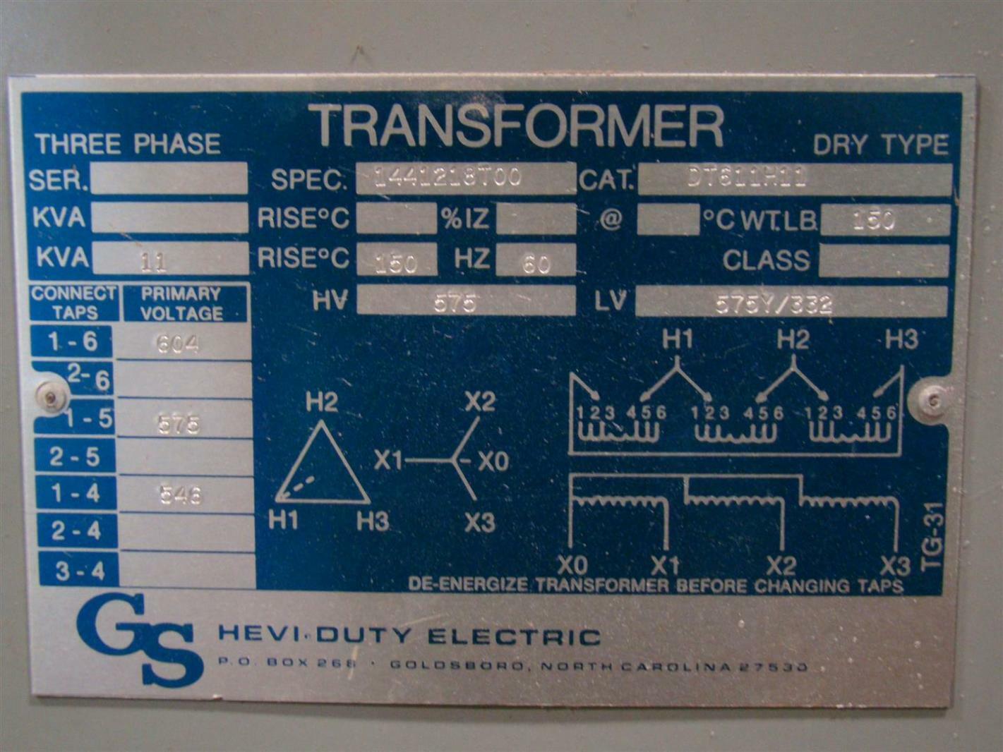 Sola Hevi Duty 3 Phase 11 Kva Transformer 575x575y 332 Volt Dt611h11