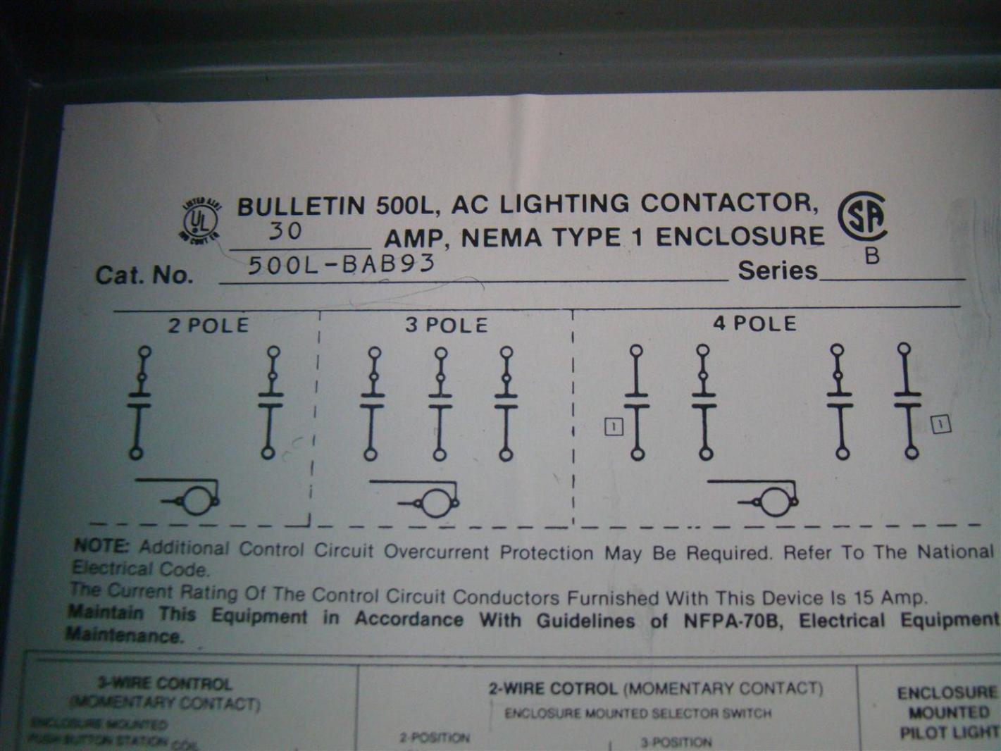 aii104 allen bradley lighting contactor 30amps 460 480v 500l bab93 5 definite purpose contactor wiring diagram wiring diagrams Cutler Hammer Contactors at mifinder.co