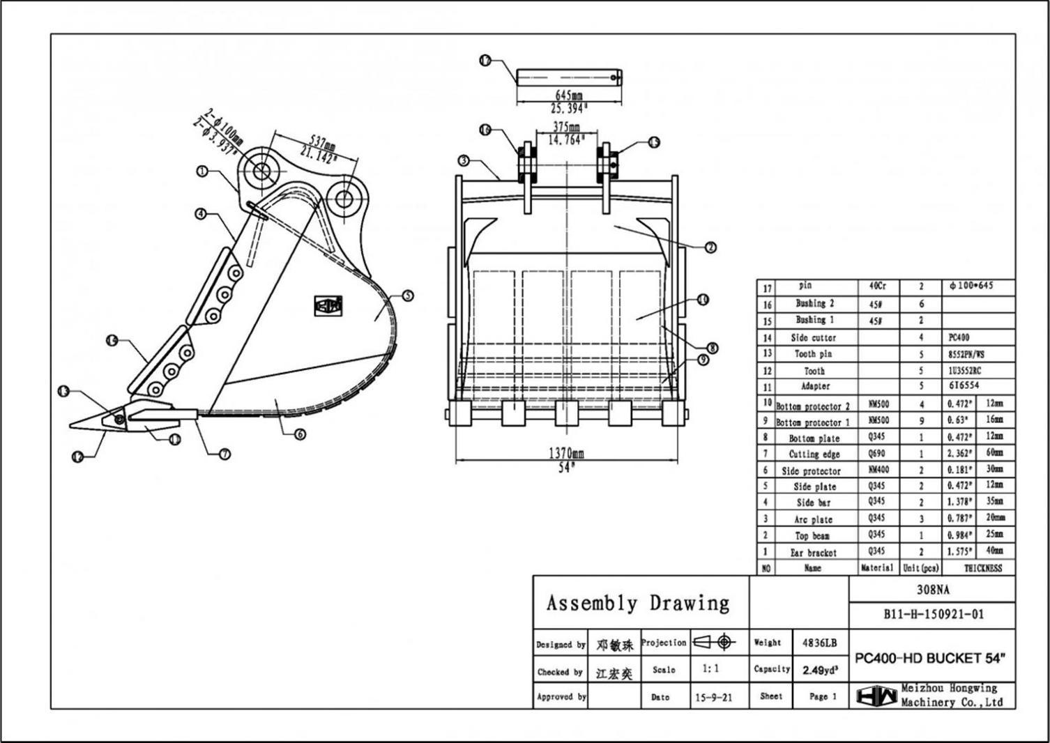 54 Heavy Duty Excavator Bucket Komatsu Pc400 100mm Pins