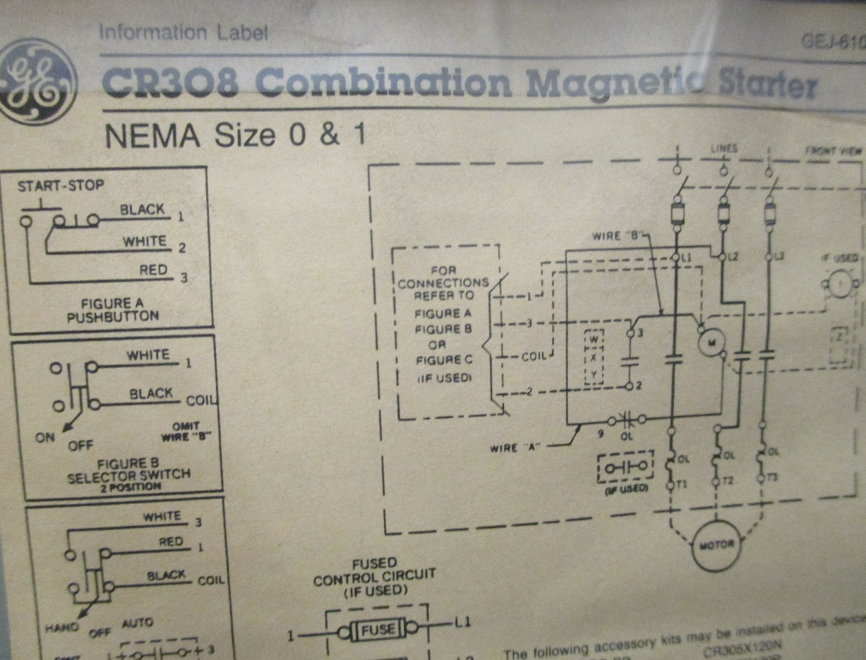 dis3585 ge combination magnetic starter cr308 600v max complete enclosure 300 line control 3?resize\=665%2C507 ge cr 308 motor starter wiring diagram wiring diagrams  at mr168.co