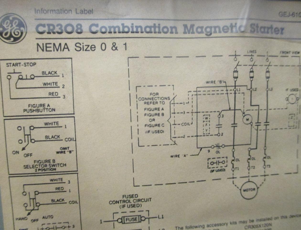 dis3585 ge combination magnetic starter cr308 600v max complete enclosure 300 line control 3?resize\=665%2C507 ge cr 308 motor starter wiring diagram wiring diagrams  at beritabola.co