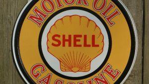 Shell Motor Oil Round Tin Metal Vintage Style Sign Garage