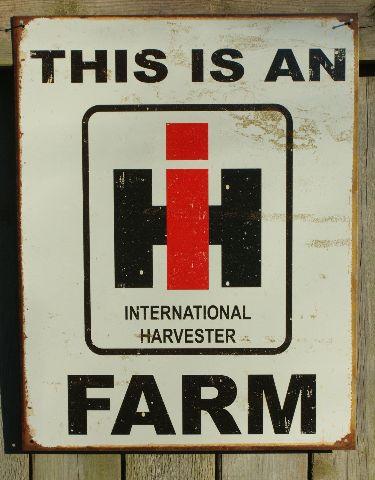 International Harvester Tin Metal Sign Garage Tractor Farm